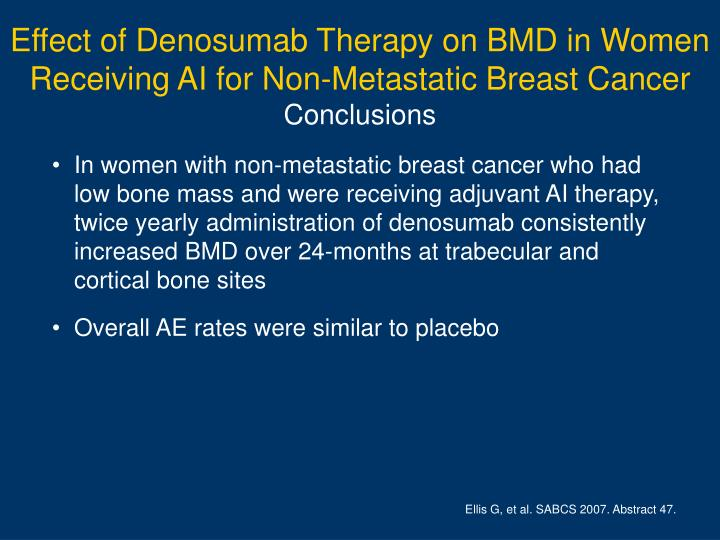 Effect of Denosumab Therapy on BMD in Women Receiving AI for Non-Metastatic Breast Cancer