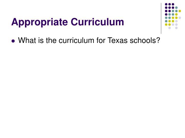 Appropriate Curriculum