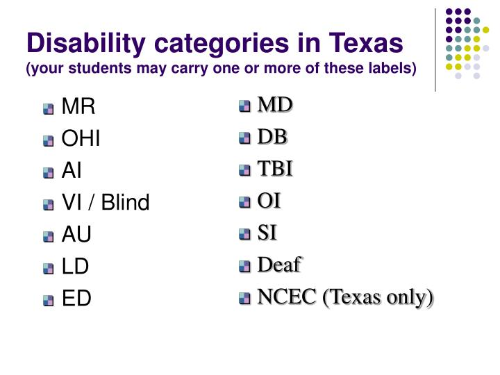 Disability categories in Texas