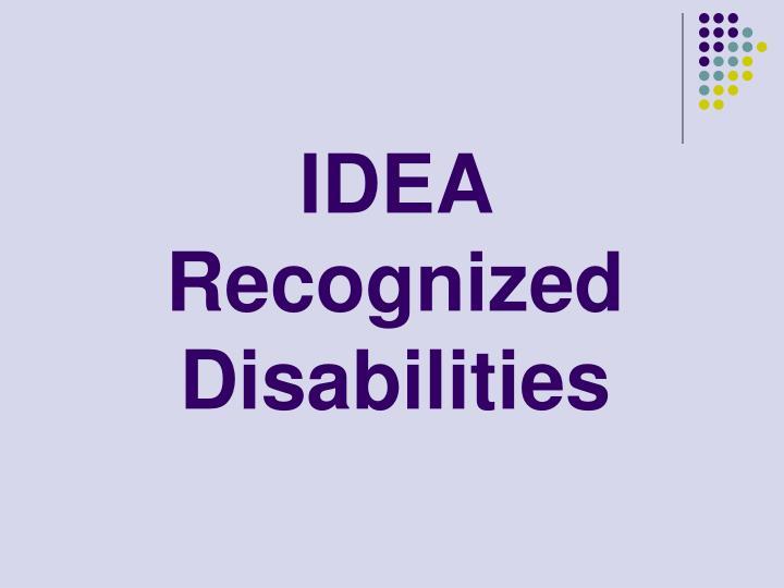 IDEA Recognized Disabilities