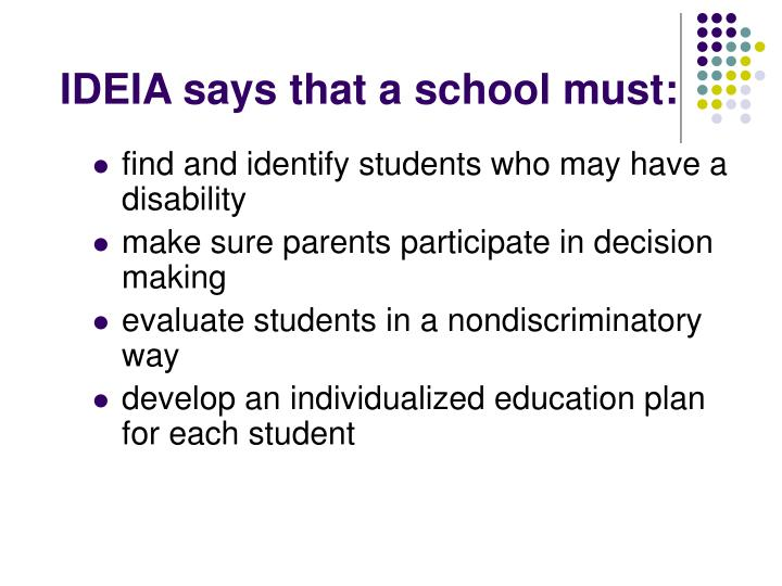 IDEIA says that a school must: