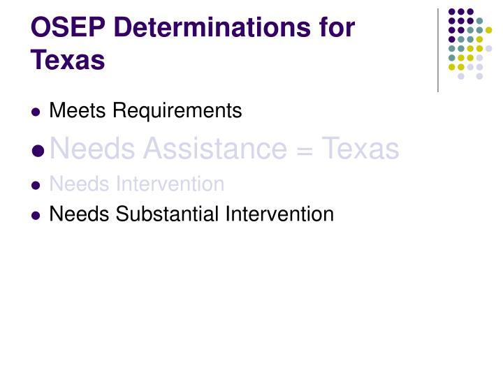 OSEP Determinations for Texas
