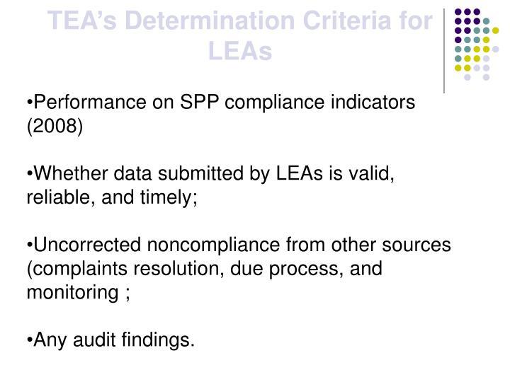 TEA's Determination Criteria for LEAs