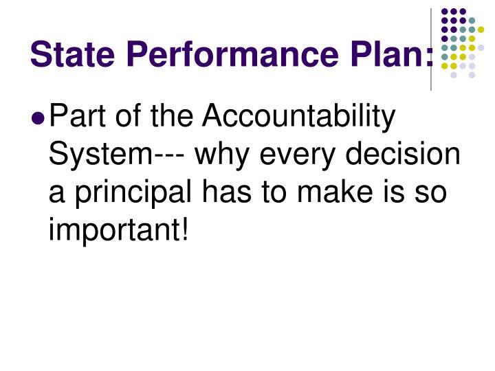 State Performance Plan: