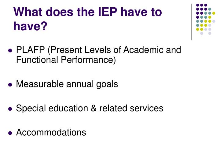 What does the IEP have to have?