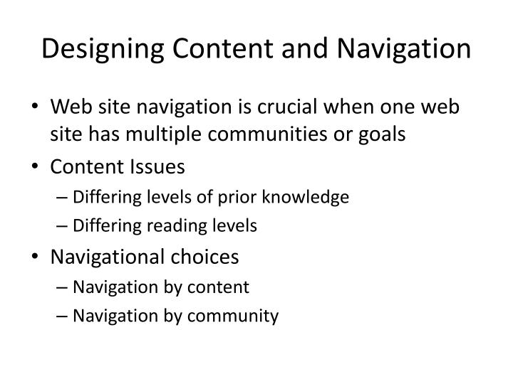 Designing Content and Navigation