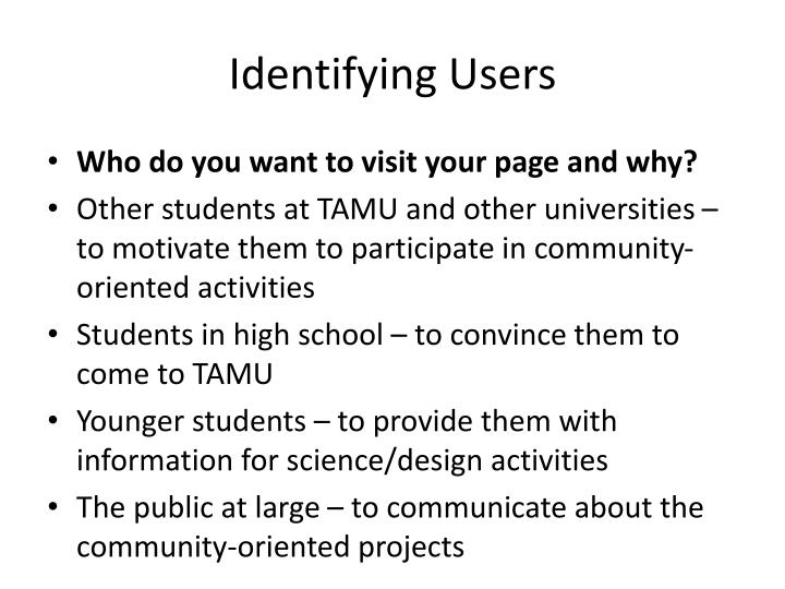 Identifying Users