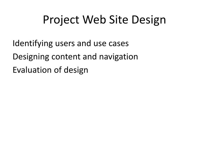 Project Web Site Design
