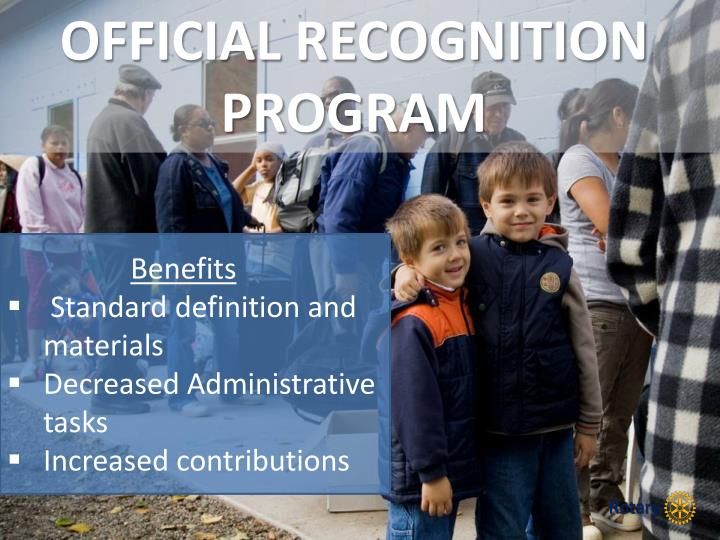 OFFICIAL RECOGNITION PROGRAM