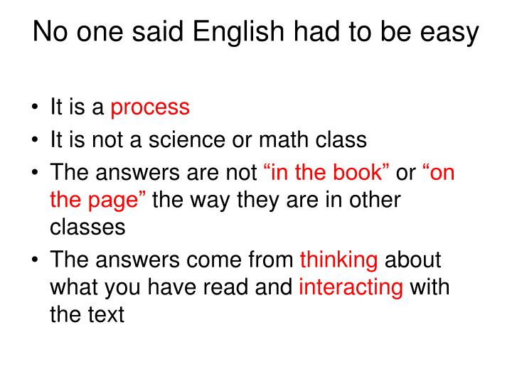 No one said English had to be easy