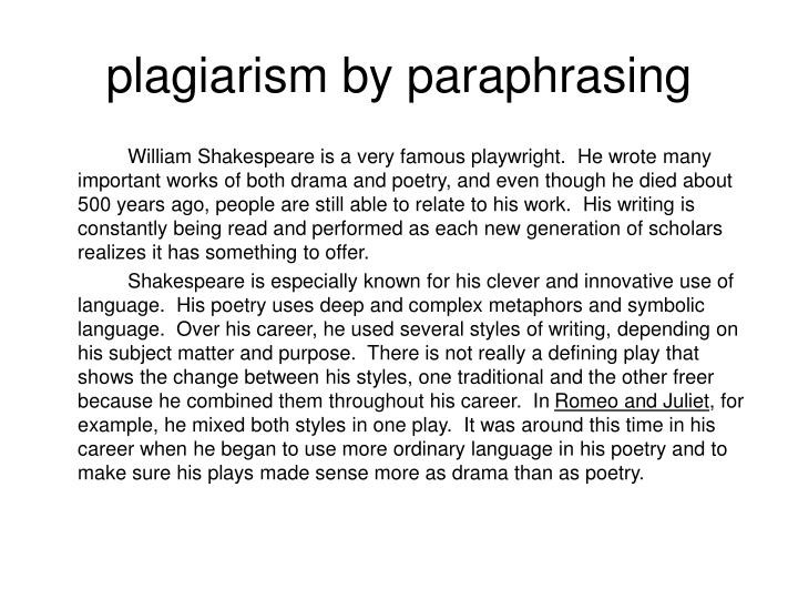 plagiarism by paraphrasing