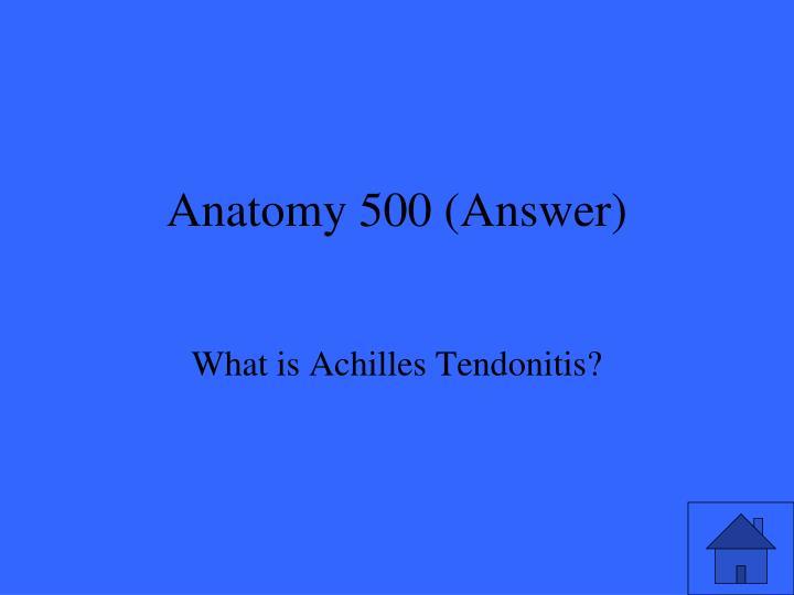 Anatomy 500 (Answer)