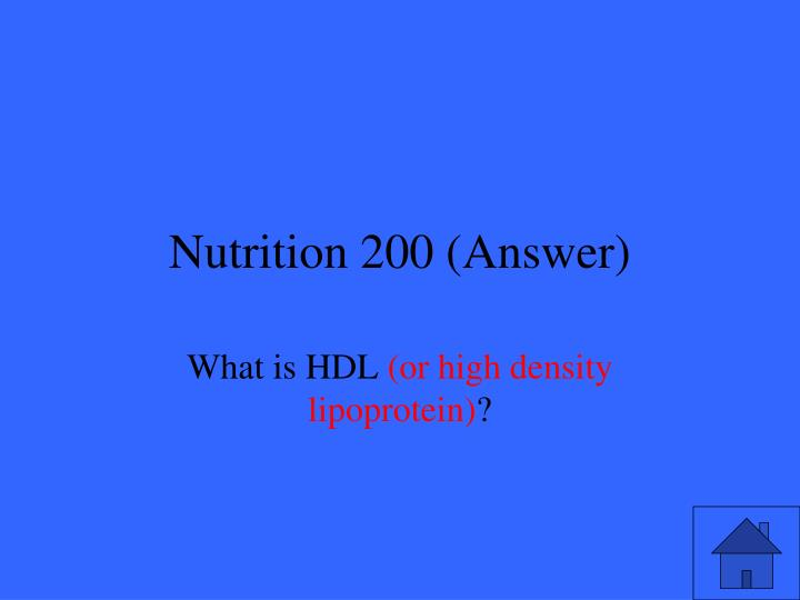 Nutrition 200 (Answer)