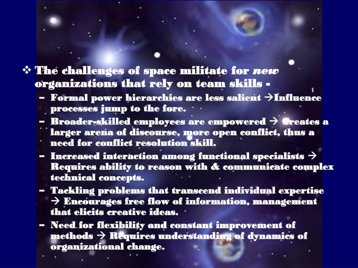 The challenges of space militate for