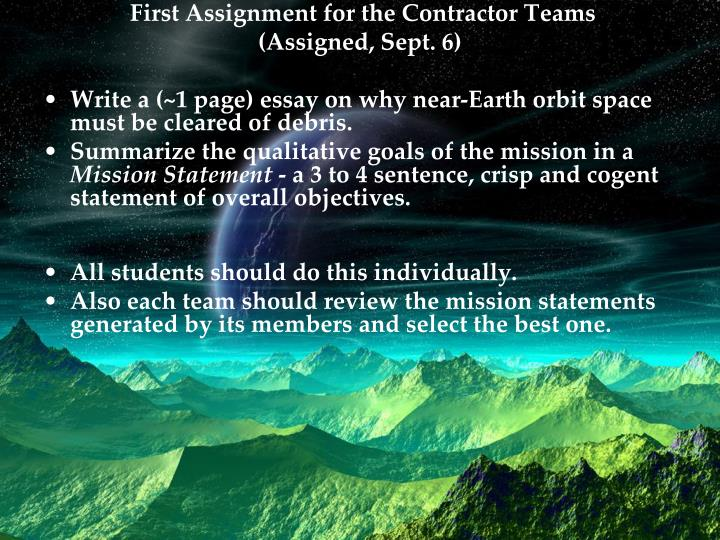 First Assignment for the Contractor Teams