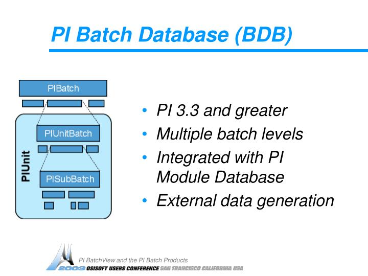 PI Batch Database (BDB)