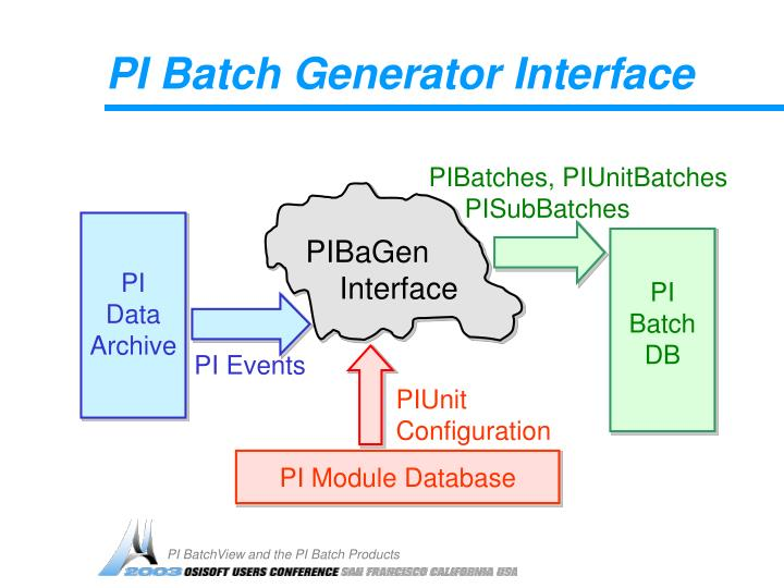 PI Batch Generator Interface