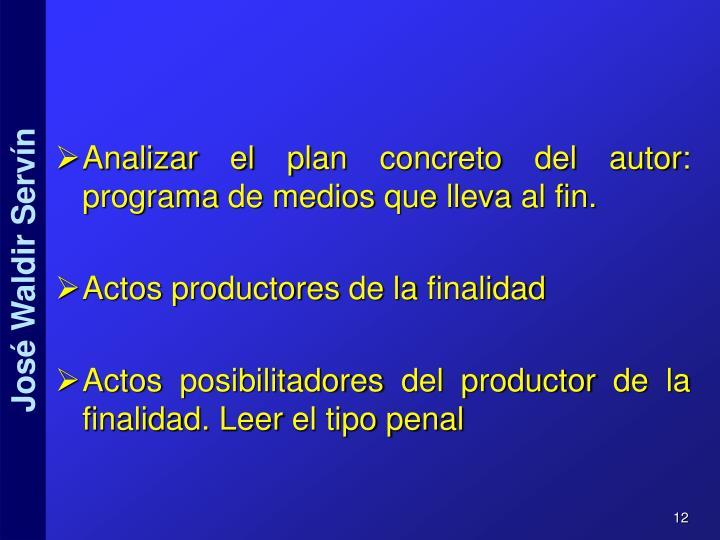 Analizar el plan concreto del autor: programa de medios que lleva al fin.