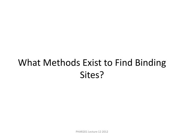 What Methods Exist to Find Binding Sites?