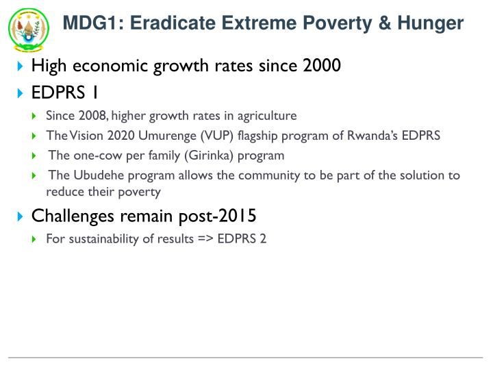 MDG1: Eradicate Extreme Poverty & Hunger