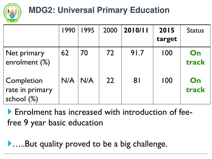 MDG2: Universal Primary Education