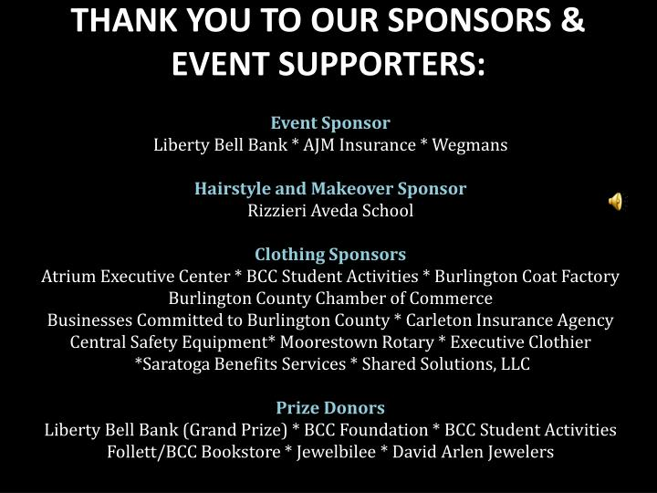 THANK YOU TO OUR SPONSORS & EVENT SUPPORTERS: