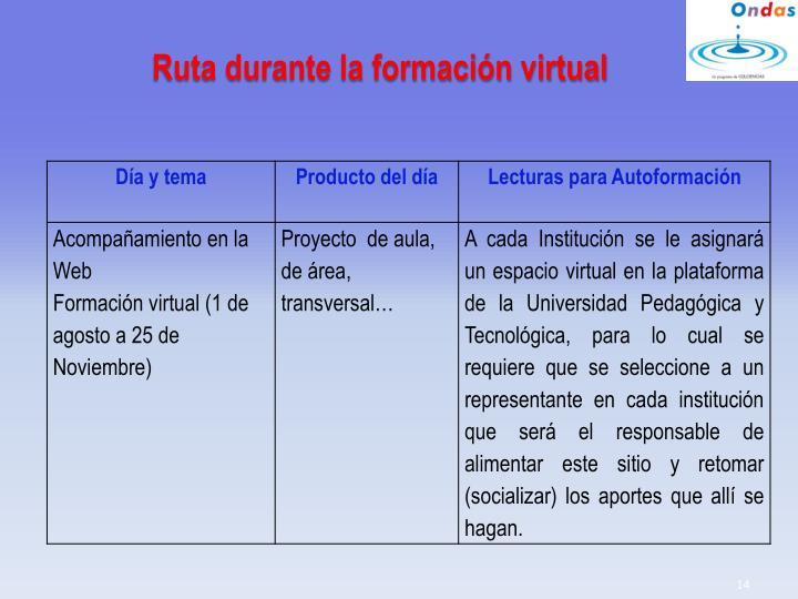 Ruta durante la formación virtual