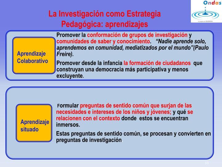 La Investigación como Estrategia Pedagógica: aprendizajes