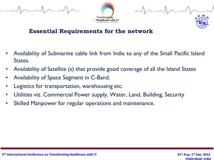Essential Requirements for the network