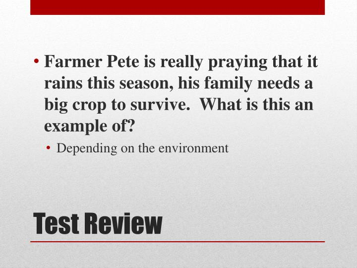 Farmer Pete is really praying that it rains this season, his family needs a big crop to survive.  What is this an example of?