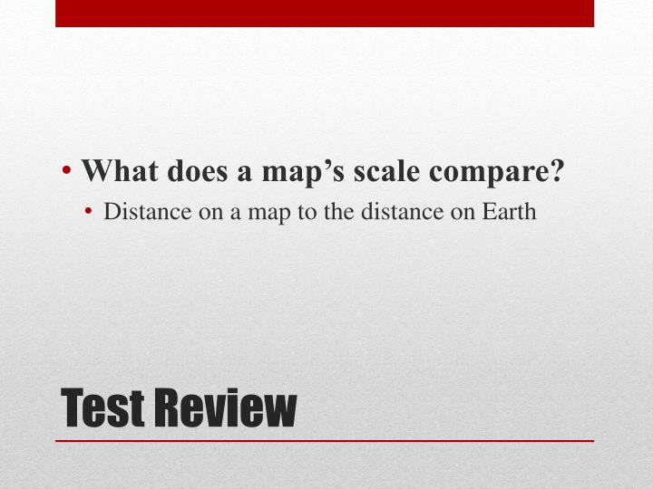 What does a map's scale compare?