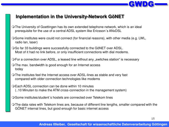 Inplementation in the University-Network GöNET