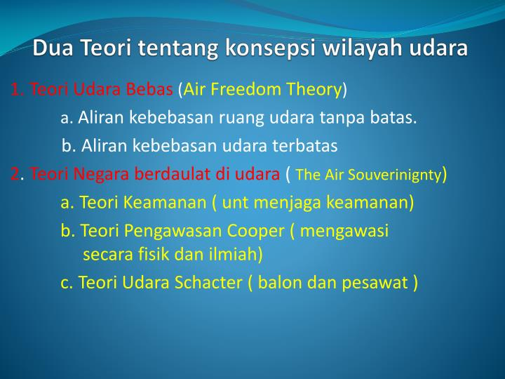 Dua Teori tentang konsepsi wilayah udara