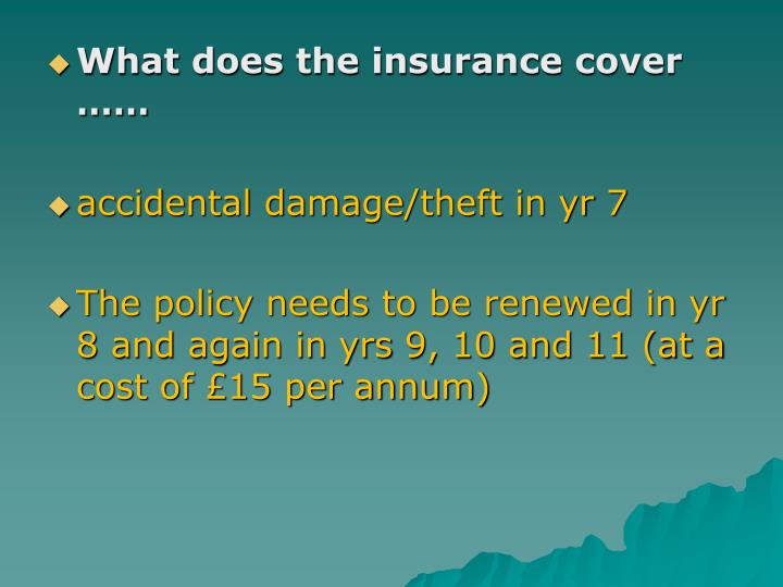 What does the insurance cover ……