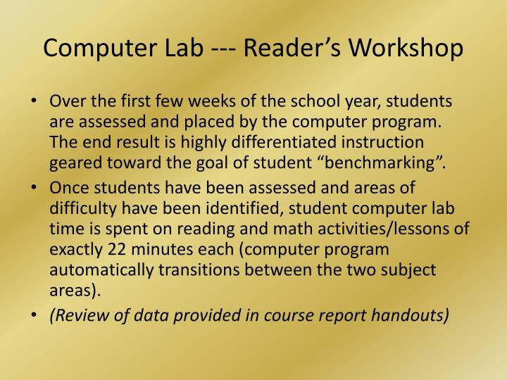Computer Lab --- Reader's Workshop