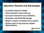 operation results and advantages