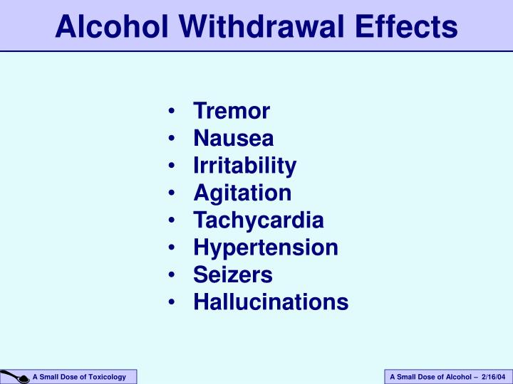 Alcohol Withdrawal Effects