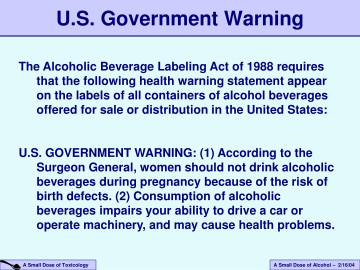 U.S. Government Warning