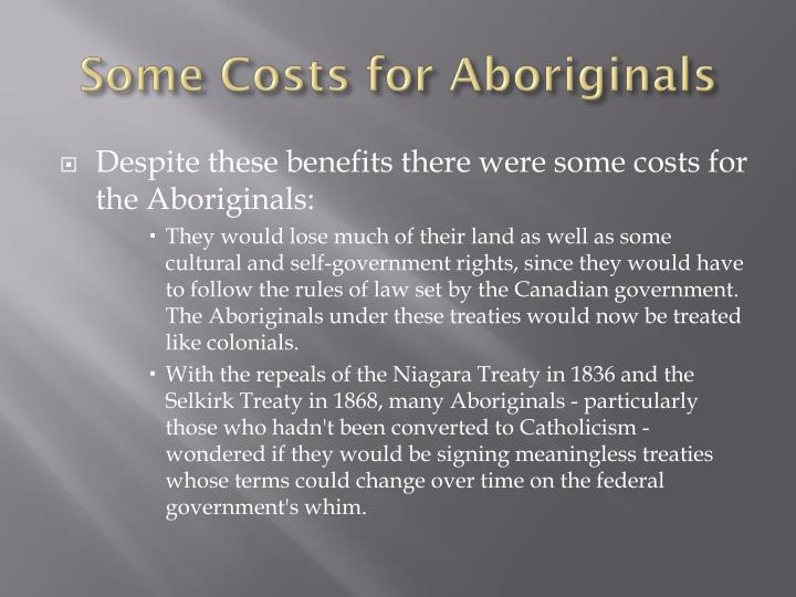 Some Costs for Aboriginals