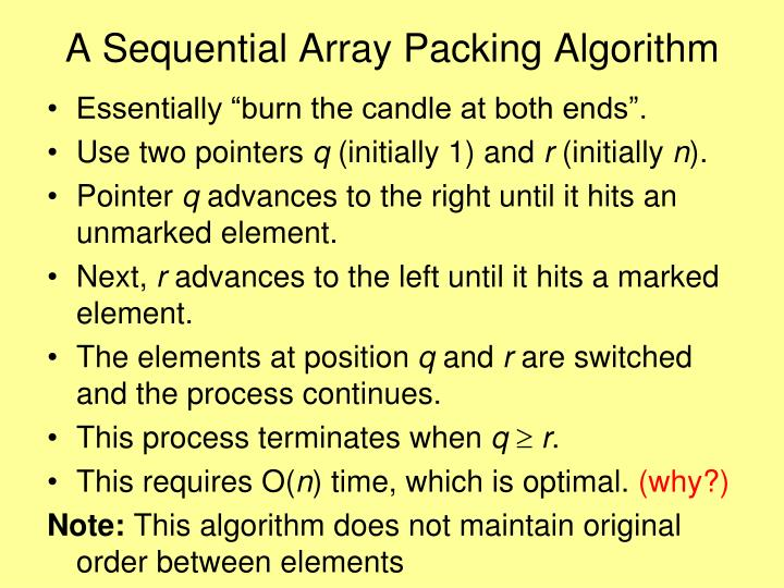 A Sequential Array Packing Algorithm