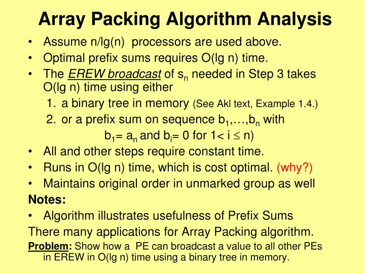 Array Packing Algorithm Analysis