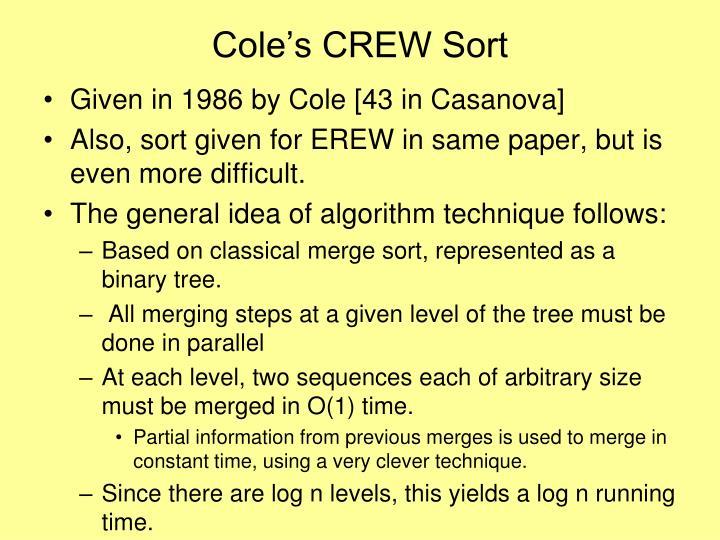 Cole's CREW Sort