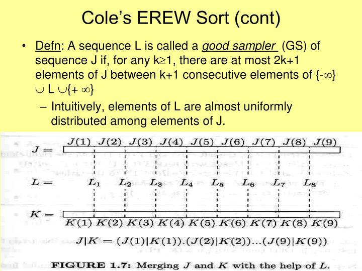 Cole's EREW Sort (cont)