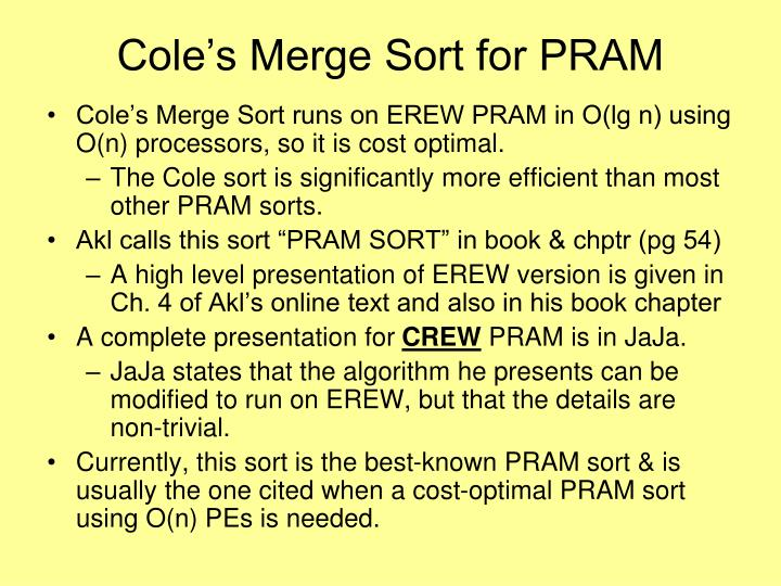 Cole's Merge Sort for PRAM