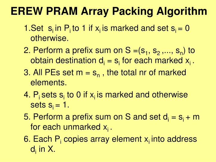EREW PRAM Array Packing Algorithm