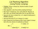 list ranking algorithm using pointer jumping