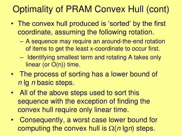 Optimality of PRAM Convex Hull (cont)
