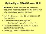 optimality of pram convex hull