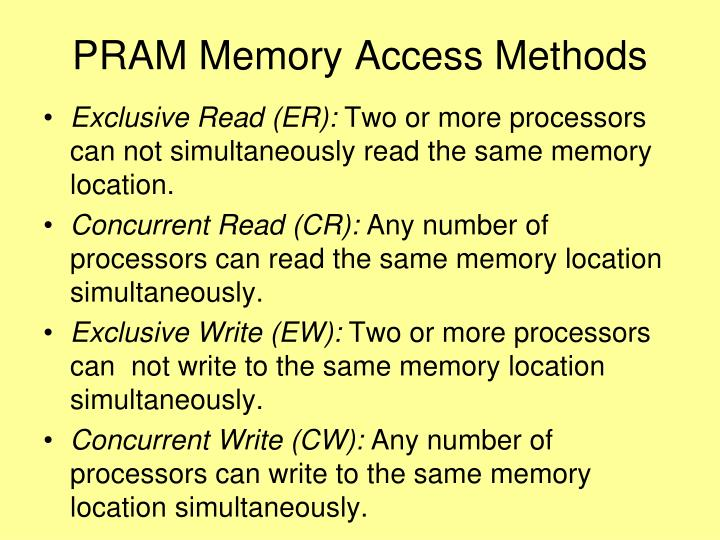 PRAM Memory Access Methods