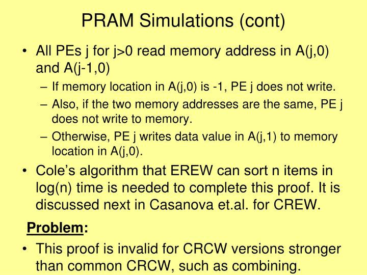 PRAM Simulations (cont)